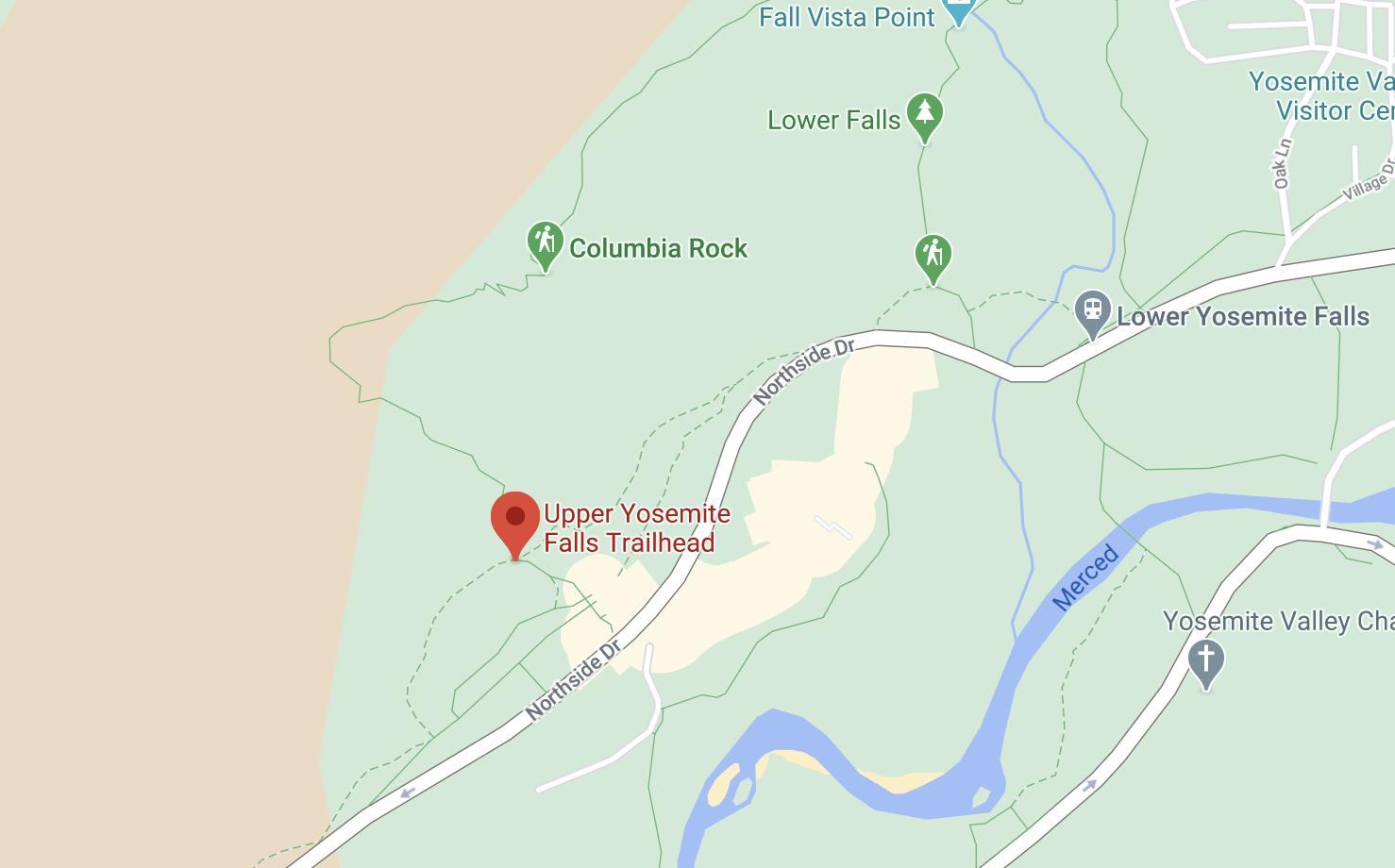 Yosemite upper falls trailhead